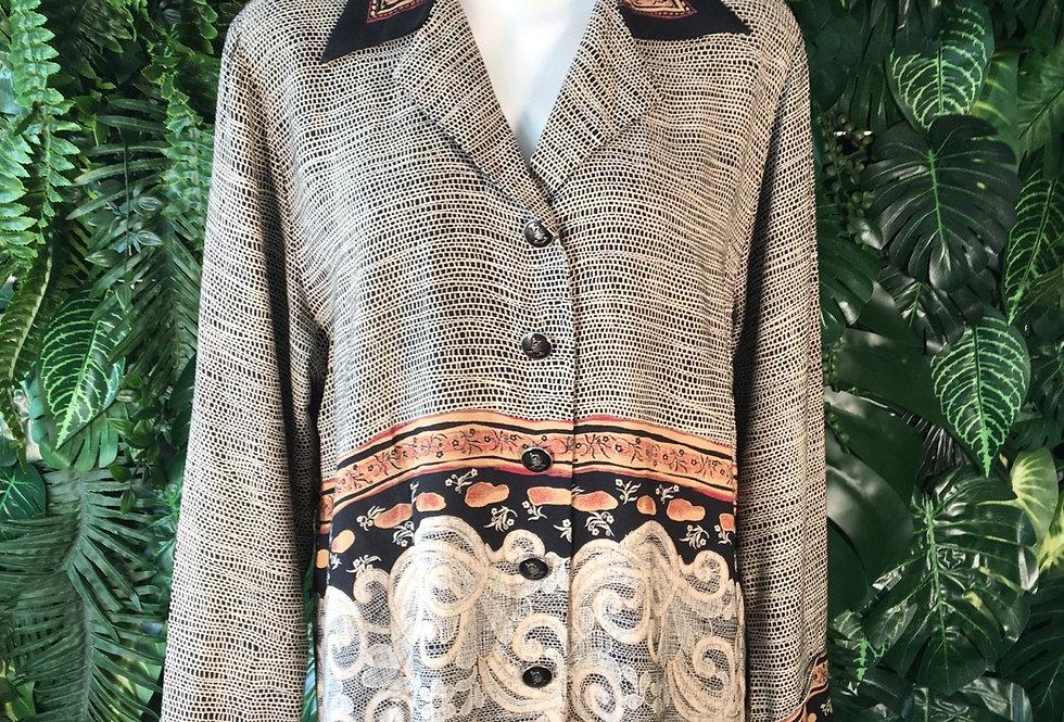 70s graphic blouse (L)