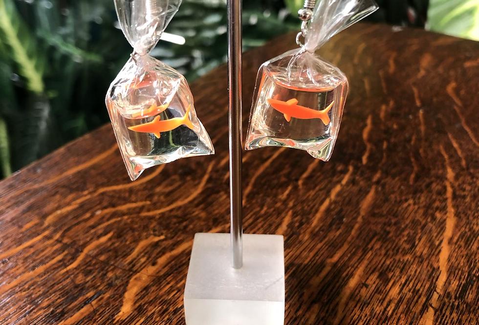 Fish bag earrings