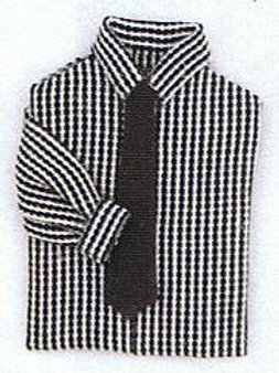 Man's Shirt with Tie-Black & White