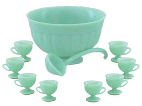 Punch Bowl Set-Jadite