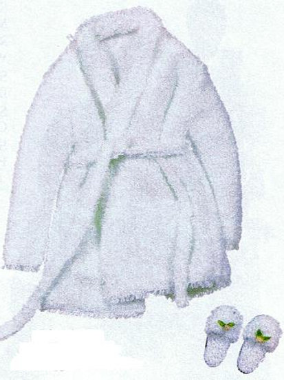 Bathrobe with Slippers-White