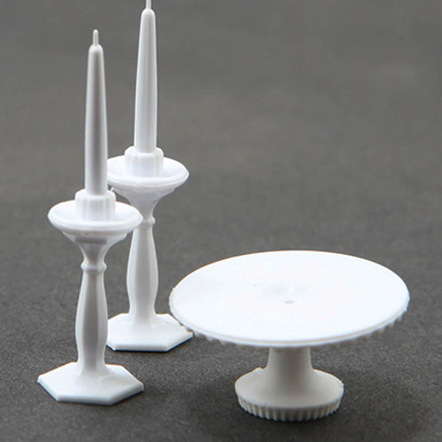 Cake Plate and Candles-White