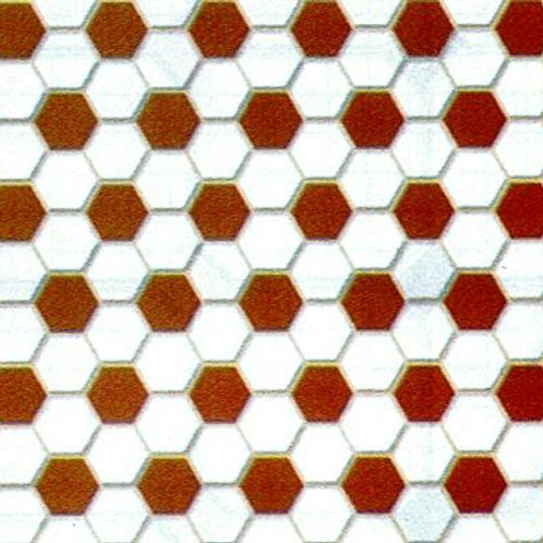 Tile-Red & White Hexagon-MH5913