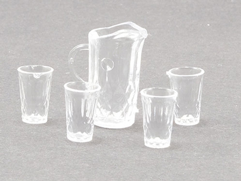Pitcher and 4 Glasses-Clear