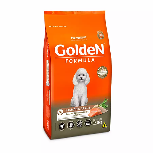 Ração Golden Fórmula Mini Bits p Cães Adultos de Pequeno Porte Sabor Salmão