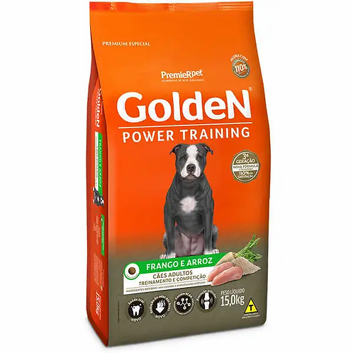Ração Seca PremieR Pet Golden Power Training Cães Adultos Frango e Arroz - 15 kg