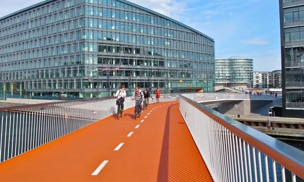 A bike bridge in Copenhagen, Denmark.