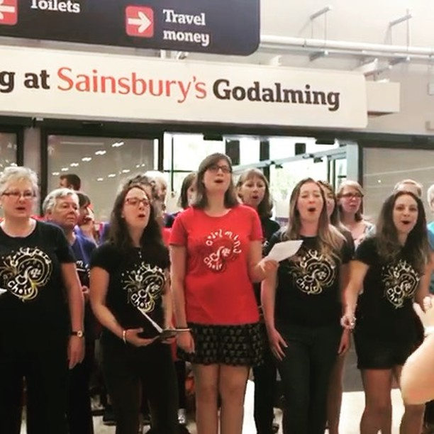We were #singing singing _sainsburys godalming #raisingmoney for _themeathcharity this morning