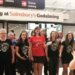 We were #singing singing _sainsburys godalming #raisingmoney for _themeathcharity this morning