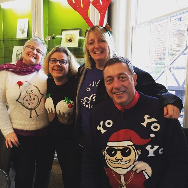 Some of the GJC crew after our performance in the Pepperpot this morning! #christmasjumpers #tisthes