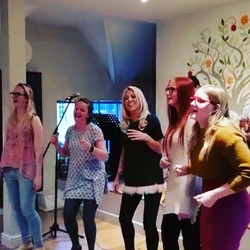 The girls from Guildford choir singing their hearts out for a student show! _flossie_hunt93 _beckyli