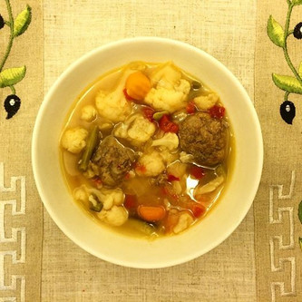 Bone Broth Vegetable Soup with Grass-Fed Beef Meatballs