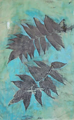 Marta Staszczyk's eco dyeing, leaves on blue background