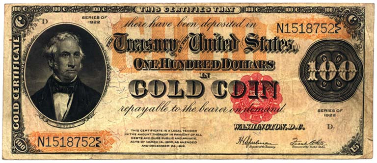 Certificates that were freely convertible into gold coins. Source: Wikipedia