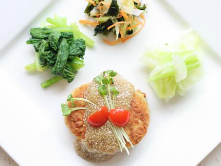 【免疫力UPレシピ】大麦と厚揚げハンバーグ&チアしょう油玉ねぎジュレ
