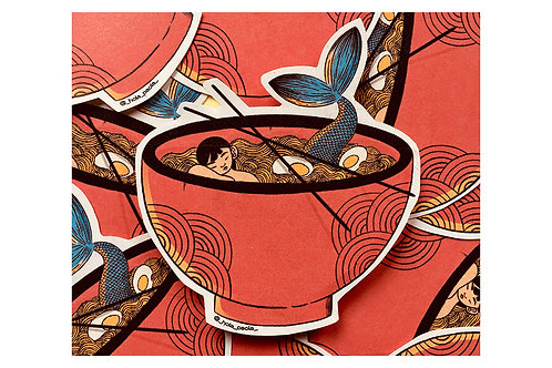 Sticker Ramen de Sirena Hola Paola