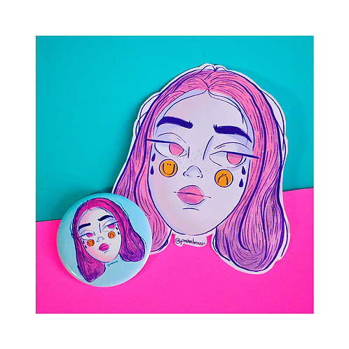 Pin y Sticker Sad Girl