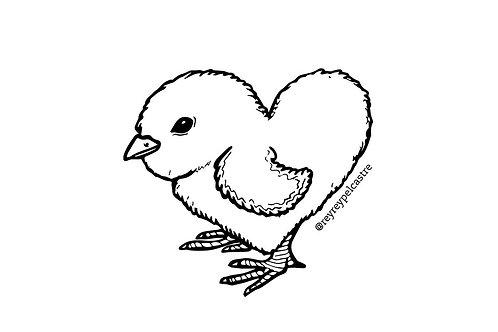 Sticker Corazón de Pollo Rey