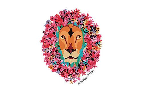 Sticker León Floral Rey