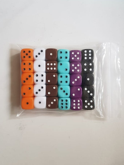 Standard D6 dice in 6 colours