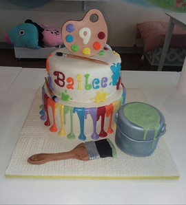 Paint party cake