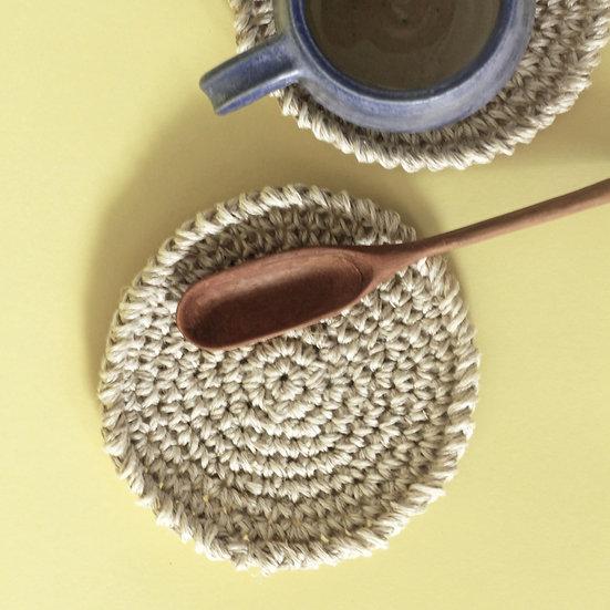 Set of 3 Modern Crochet Coasters (Hemp)