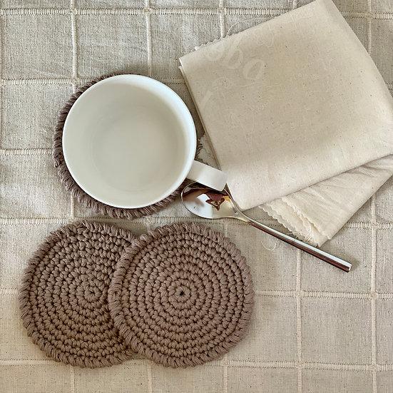 Set of 3 Modern Crochet Coasters (Cotton)
