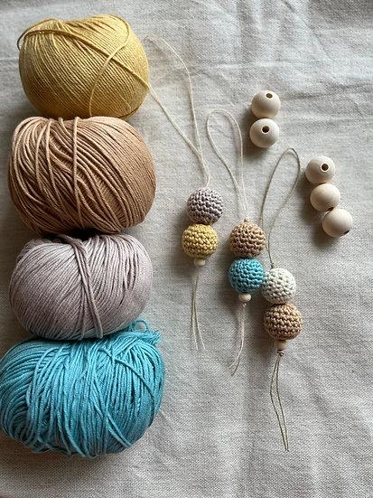 Crochet Wooden Bead Key Ring / Bag Charm