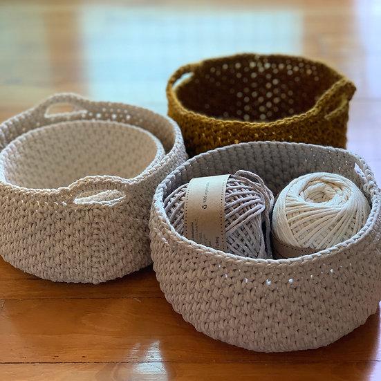 Pebbled Crochet Storage Baskets