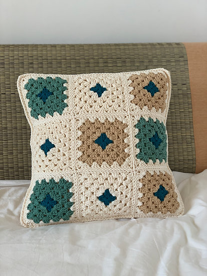 Granny Chic Cushion - Teal Forest