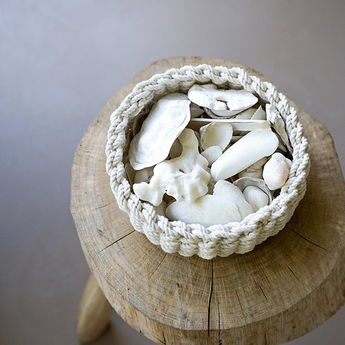 Twined rope bowl white