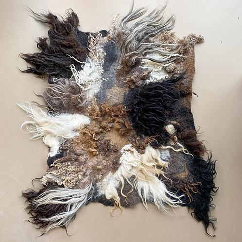 Felted sheep wool rug
