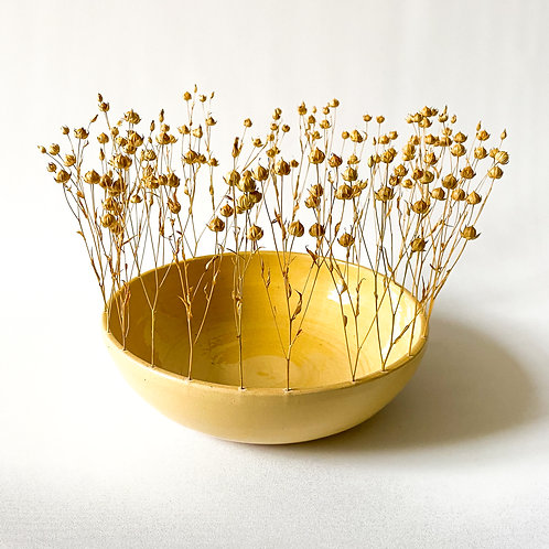Ceramic bowl with flax flowers
