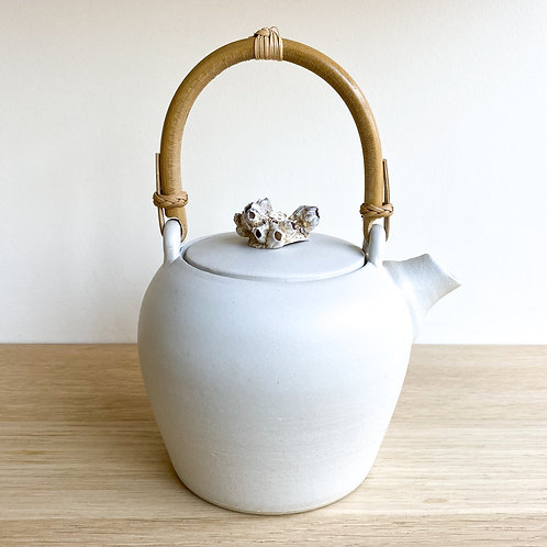 Teapot with shell cap and bamboo handle