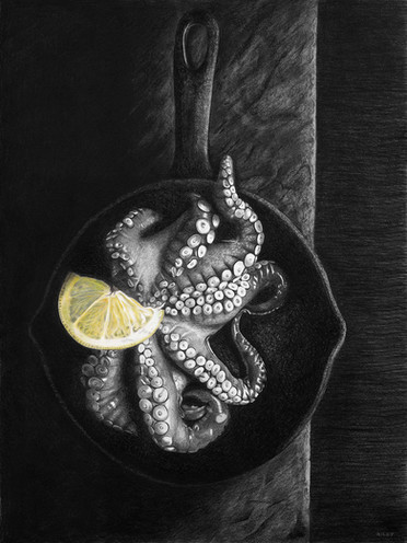 Lunch: Pencil & charcoal on paper