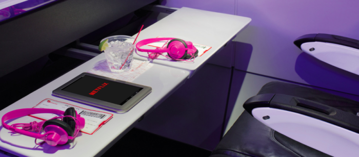 Virgin America allows streaming of Netflix through Ka-Band service. Image courtesy of Virgin America.