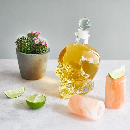 Skull Decanter & 2 Salt Shot Glasses Set