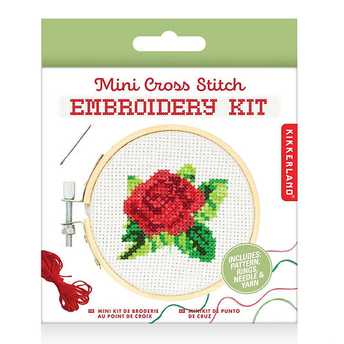 Kikkerland Mini Cross Stitch Embroidery Kit