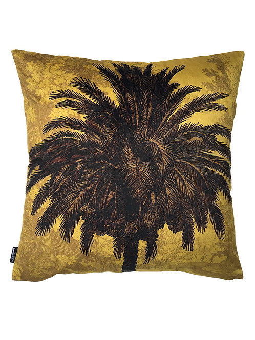 Vanilla Fly Mustard Palm Velvet Cushion
