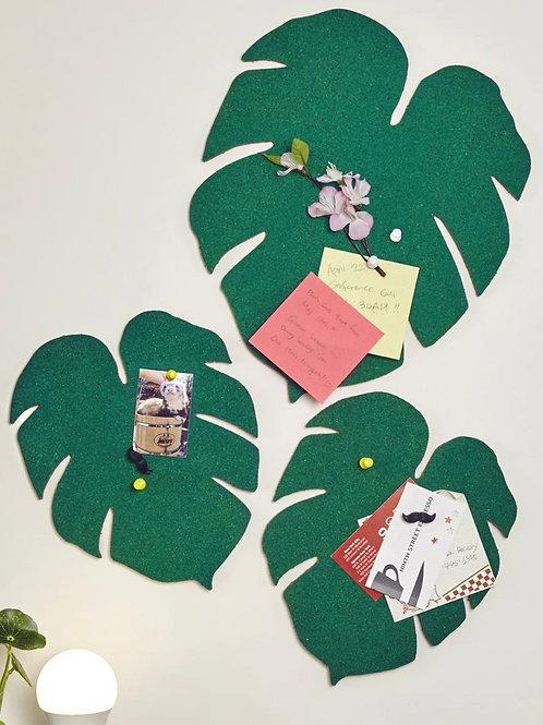 Set 3 Monstera leaf cork boards