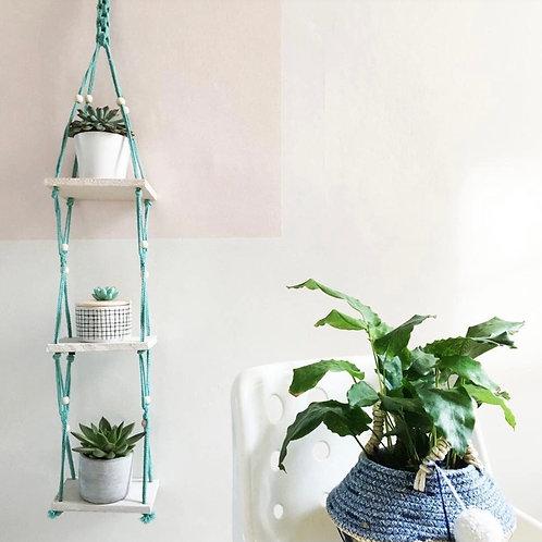 Macrame Blue and White Triple Shelf