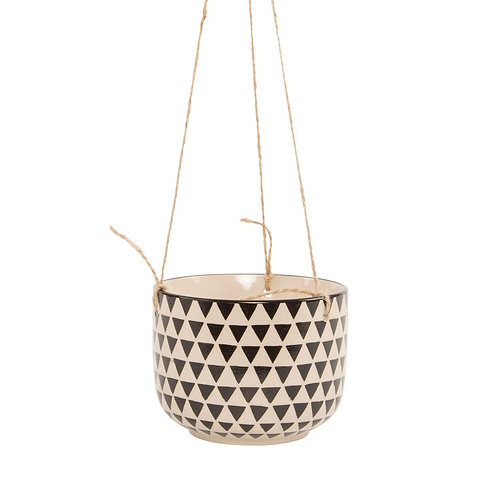 Sass & Belle Black Geo Isla Hanging Planter