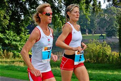 Angie Sadler (Left) seen here running with Vicky Skelton at the Perth Ultrafest