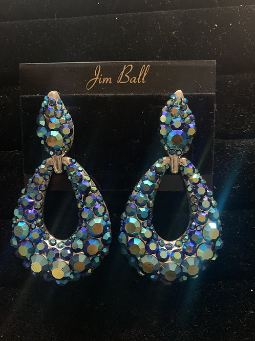 Jim Ball Large Pave' Crystal Earrings
