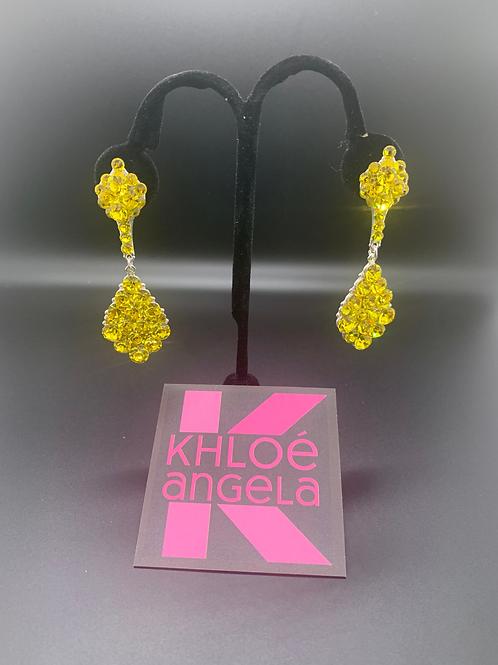 Jim Ball Medium Crystal Earrings - Lemon