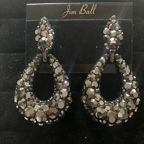 Jim Ball Large Pave' Crystal Earrings