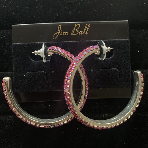 Jim Ball Large Crystal Hoop Earrings