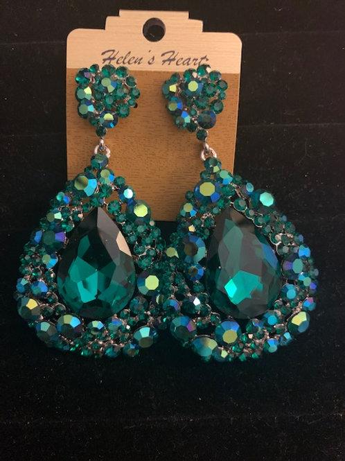 Helen's Heart Emerald Chandelier Earrings