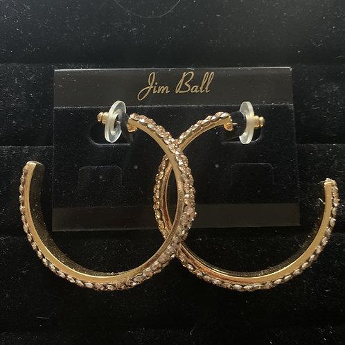 Jim Ball Large Crystal Hoop Earrings