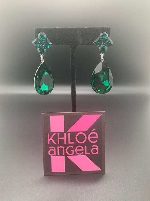 Jim Ball Small Crystal Earrings - Emerald